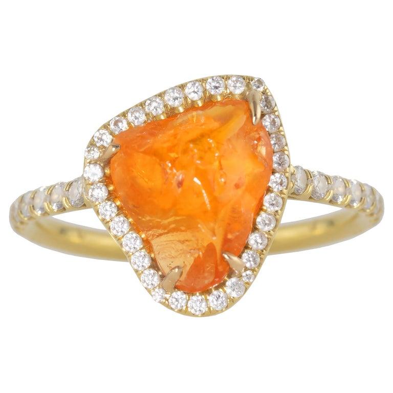 Ico & the Bird Fine Jewelry Spessartite Orange Garnet Diamond 18k Gold Ring For Sale