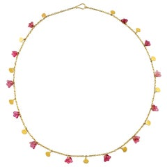 Ico & the Bird Pink Tourmaline Carved 'Lotus' Sequin Necklace 22 Karat Gold