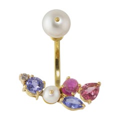 Ico & the Bird Fine Jewelry Tourmaline Pearl Diamond 18k Gold Earring
