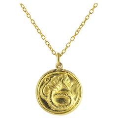 Ico & the Bird & Turquoise Mountain Myanmar Dragon Zodiac 18k Gold Medallion