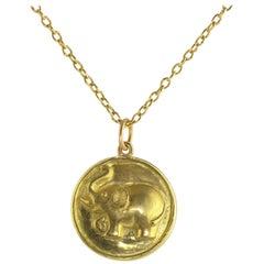Ico & the Bird w/ Turquoise Mountain Myanmar Elephant tusked Medallion 18k Gold