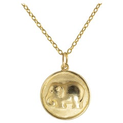 Ico & the Bird & Turquoise Mountain Myanmar 18k Gold Elephant Zodiac Medallion