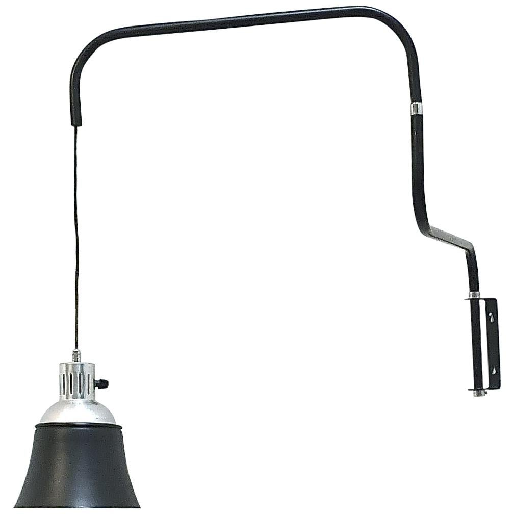 Icon Bauhaus Wall Lamp Bormann Ugo Police Kandem 1930-1950 Black Enameled Metal