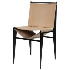 Icon Chair in Leather and Powder Coated Steel, 2020, by Christopher Kreiling