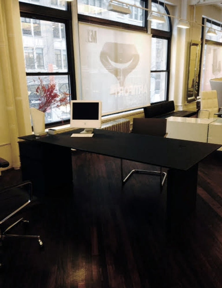 """Icon desk 1 Original price: $11,275.00 Consists of 6102r, 6254, 6112l overall: width 99.6"""" black stained glass Panel leg, texture painted black .04 Ext. Pedestal, texture paint black .04 Measures: Top: 78.75"""