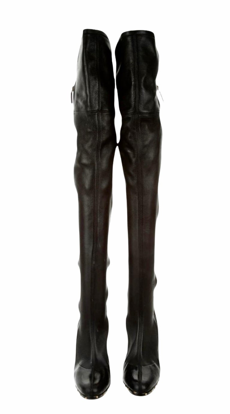 Women's ICON Gucci by Tom Ford Black Studded OTK Boots 2003 For Sale