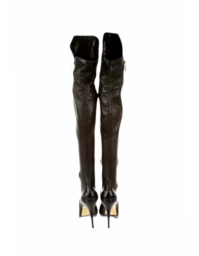 ICON Gucci by Tom Ford Black Studded OTK Boots 2003 For Sale 1