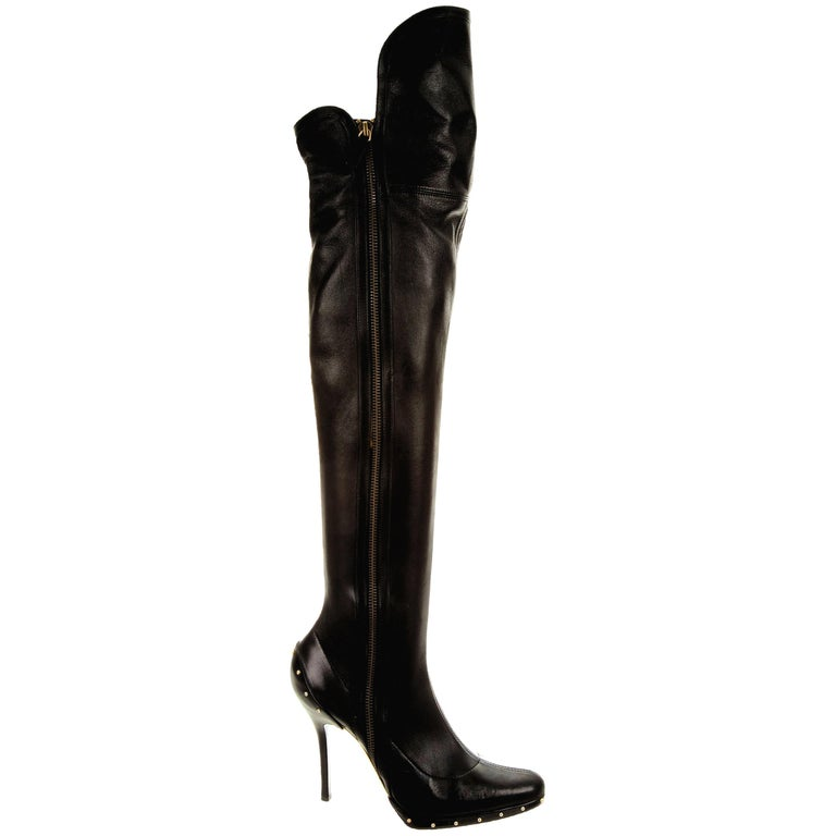 ICON Gucci by Tom Ford Black Studded OTK Boots 2003 For Sale