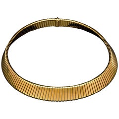 Iconic 18 Carat Yellow Gold Tubogas Necklace by Bulgari, circa 1970s