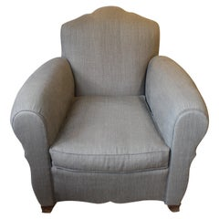 Iconic 1940 French Art Deco Club Chair Armchair Re-Upholstered Grey French Linen