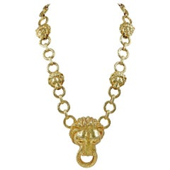 VAN CLEEF & ARPELS Diamond Lion Head Link Necklace