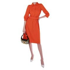 Iconic 1970's Courreges Couture Future Orange Wool Mixture Dress