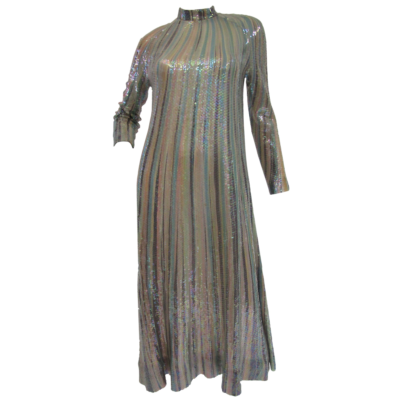 Iconic 1970s Halston Pastel Striped Sequined Silk Maxi Dress