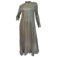 Iconic 1970s Halston Pastel Striped Sequined Silk Maxi Dress
