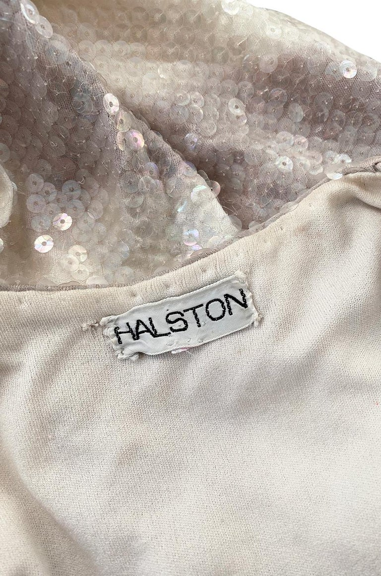 Iconic 1973 Halston Couture Well Documented Sequin Cloud Print Dress For Sale 7