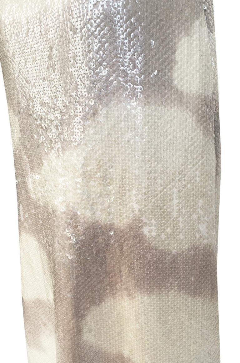 Iconic 1973 Halston Couture Well Documented Sequin Cloud Print Dress For Sale 9