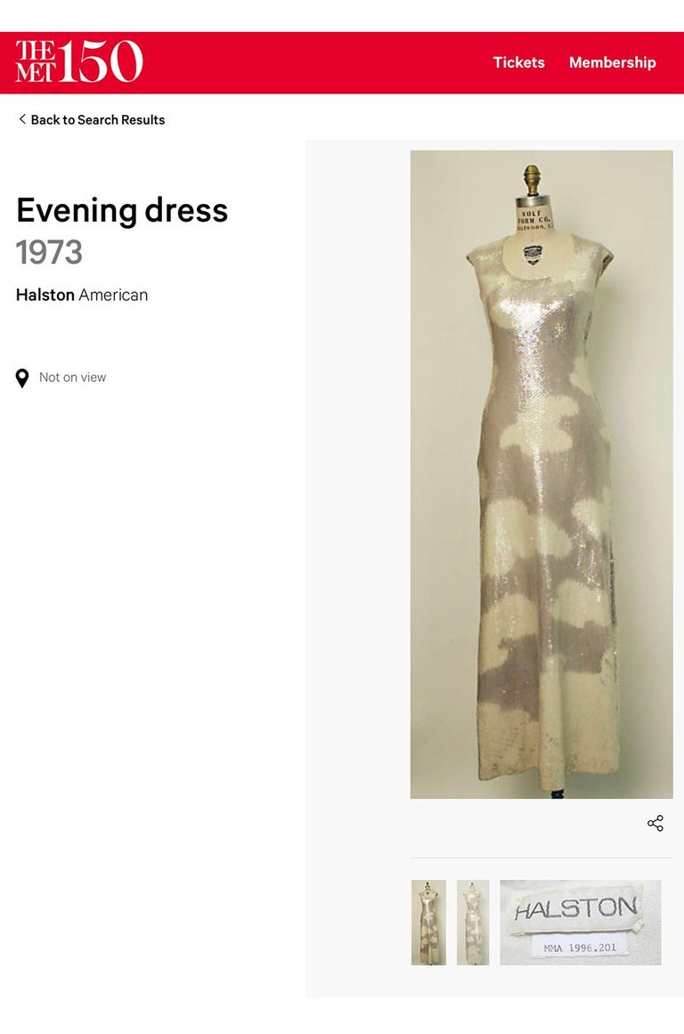 Iconic 1973 Halston Couture Well Documented Sequin Cloud Print Dress For Sale 11
