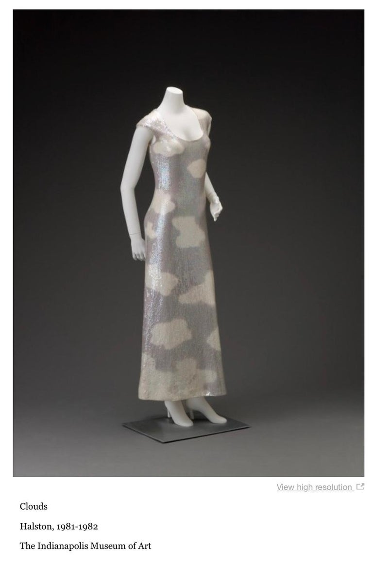 Iconic 1973 Halston Couture Well Documented Sequin Cloud Print Dress For Sale 12