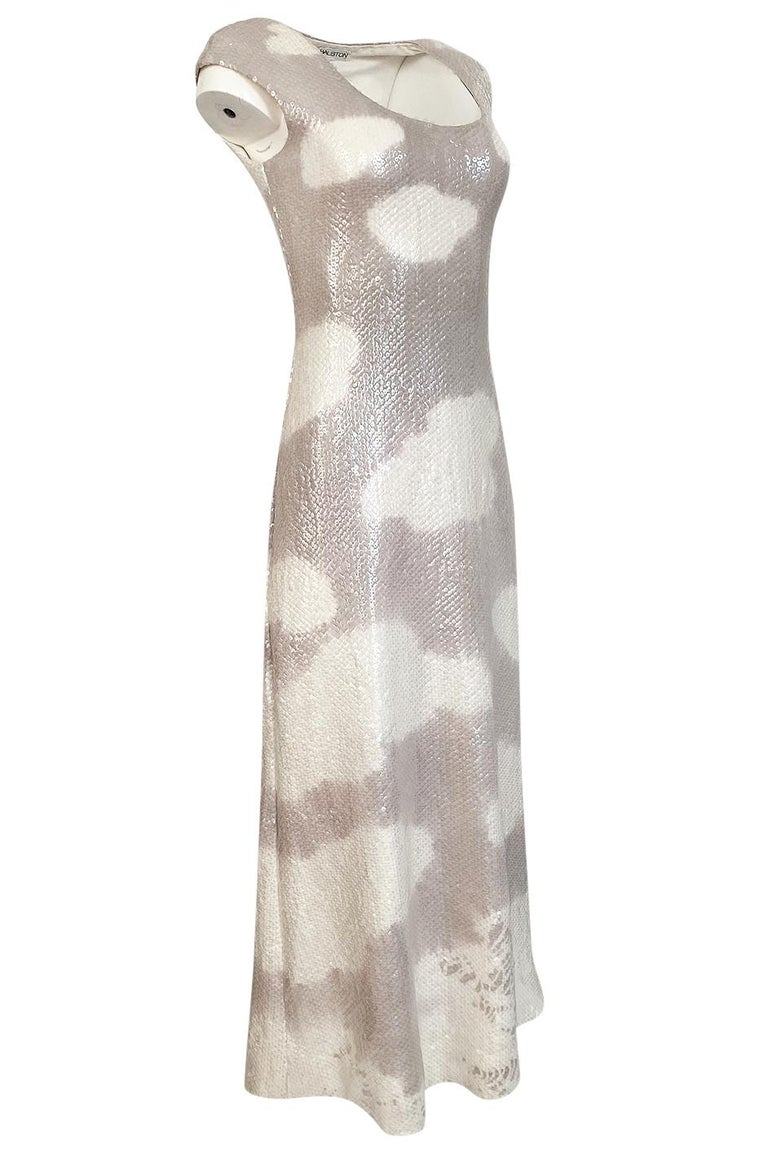 Iconic 1973 Halston Couture Well Documented Sequin Cloud Print Dress In Excellent Condition For Sale In Rockwood, ON