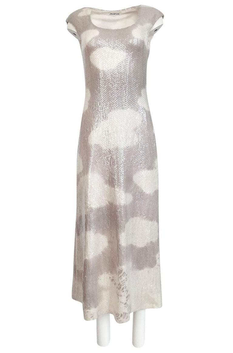 Women's Iconic 1973 Halston Couture Well Documented Sequin Cloud Print Dress For Sale