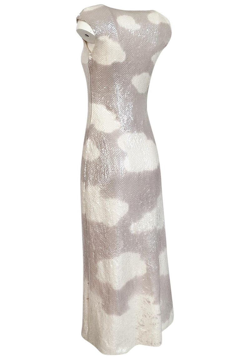 Iconic 1973 Halston Couture Well Documented Sequin Cloud Print Dress For Sale 2