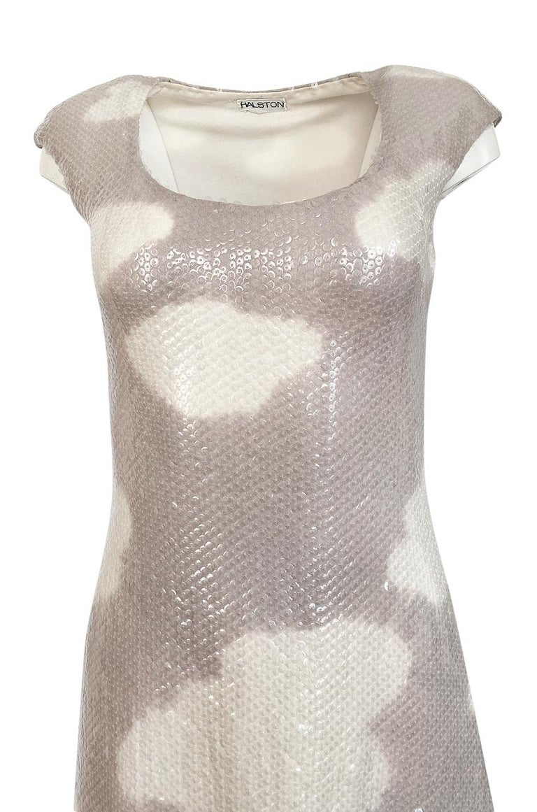 Iconic 1973 Halston Couture Well Documented Sequin Cloud Print Dress For Sale 3