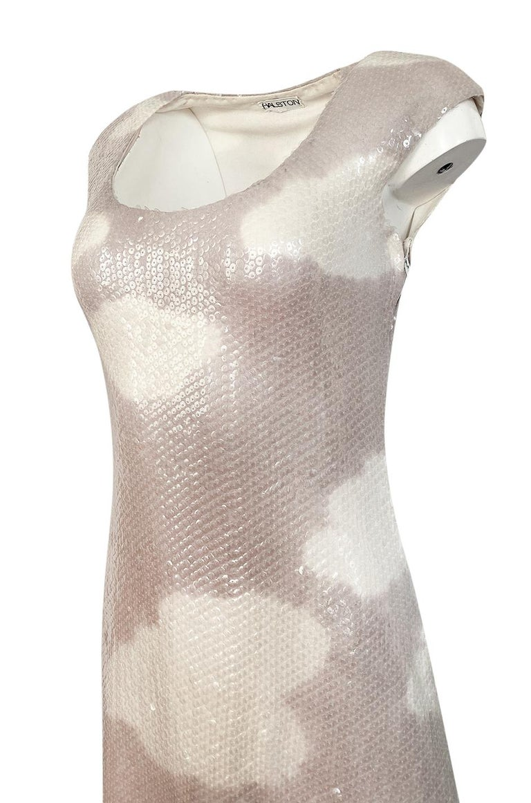 Iconic 1973 Halston Couture Well Documented Sequin Cloud Print Dress For Sale 4
