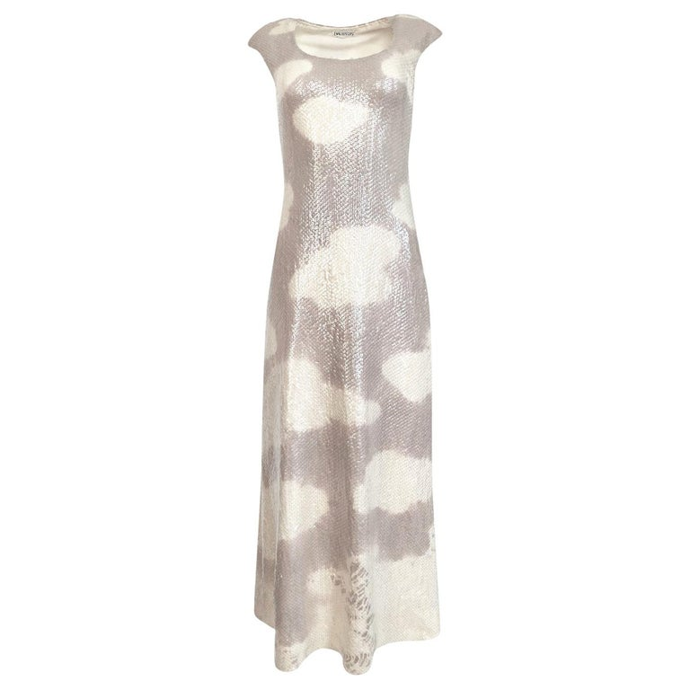 Iconic 1973 Halston Couture Well Documented Sequin Cloud Print Dress For Sale
