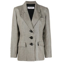 Iconic 1980s Yves Saint Laurent YSL Black & Ivory Blazer Jacket