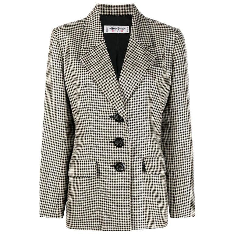 Iconic 1980s Yves Saint Laurent YSL Black & Ivory Blazer Jacket For Sale