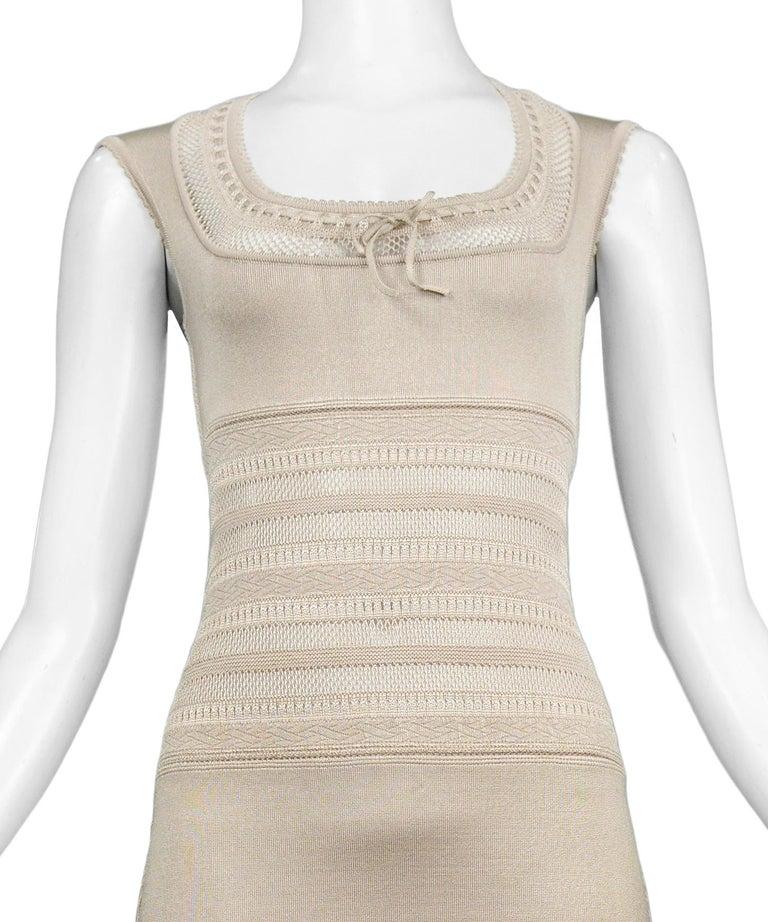 Beige Iconic Vintage Alaia Neutral Tone Lace Bodycon Knit Dress 1990's For Sale