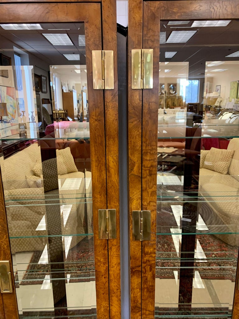 Mid-Century Modern Iconic American of Martinsville Mid-Century Pair of Matching Campaign Vitrines For Sale