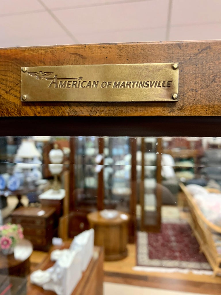 Late 20th Century Iconic American of Martinsville Mid-Century Pair of Matching Campaign Vitrines For Sale