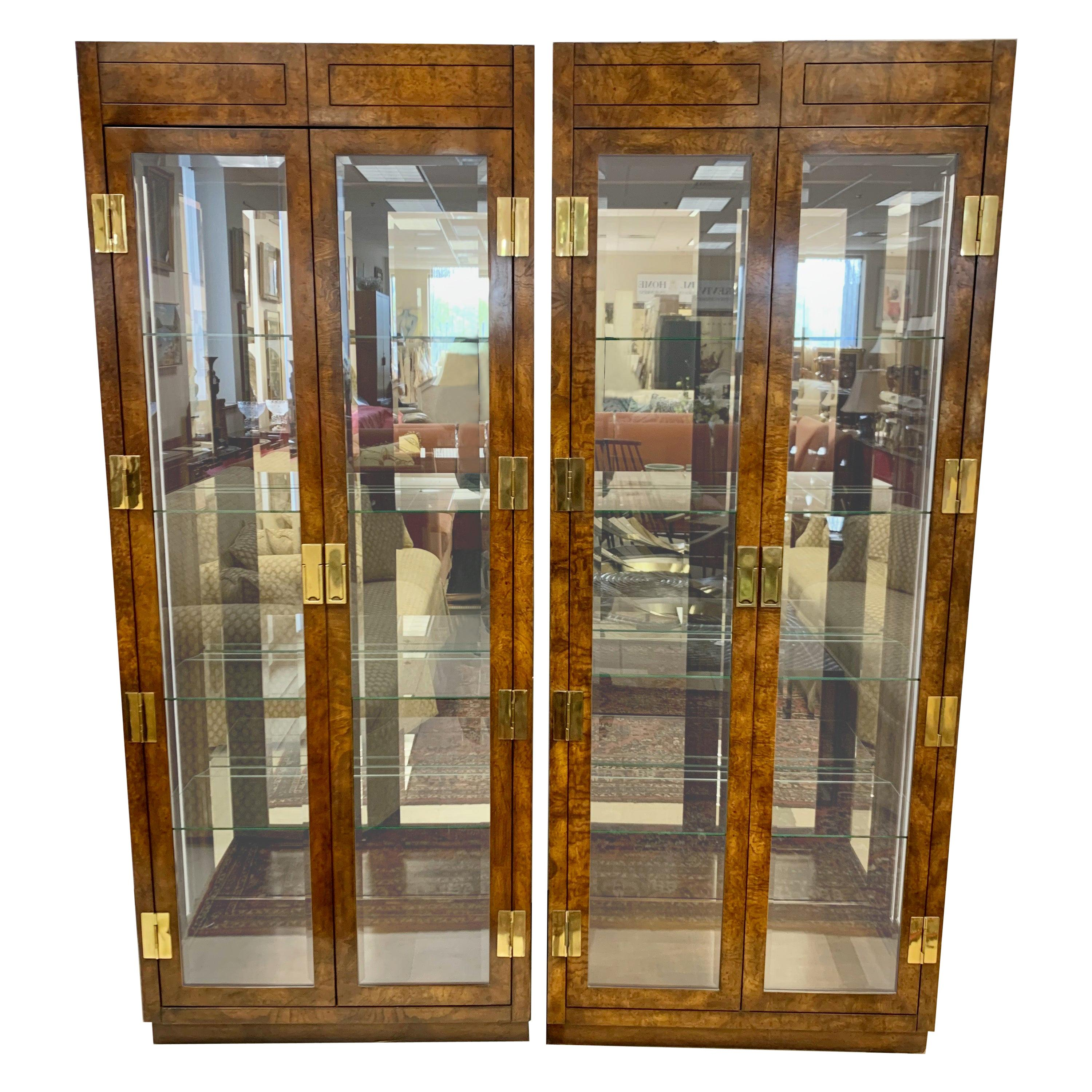 Iconic American of Martinsville Mid-Century Pair of Matching Campaign Vitrines