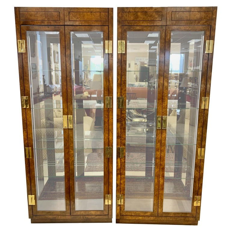 Iconic American of Martinsville Mid-Century Pair of Matching Campaign Vitrines For Sale