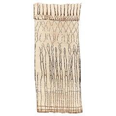 Iconic Antique Ivory Beni Ouarain Moroccan Berber Rug
