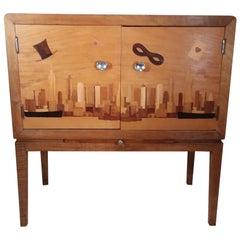 Iconic Art Deco Inlaid New York Bar Cabinet