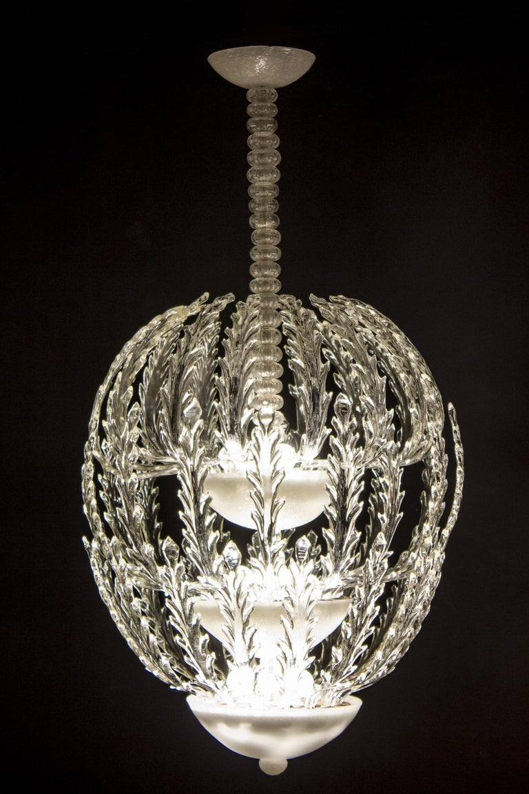 Iconic Art Deco Murano Glass Chandelier by Ercole Barovier, 1930s For Sale 7