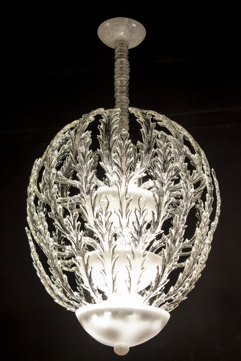 Iconic Art Deco Murano Glass Chandelier by Ercole Barovier, 1930s For Sale 11