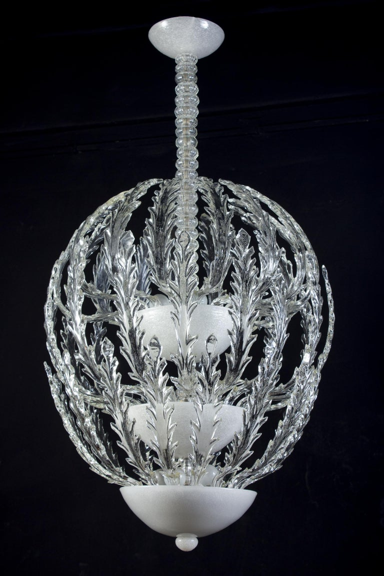 Piece of great value and elegance designed by Ercole Barovier, 1930-1940. Model used by the famous architect Melchiorre Bega for the historic caffè Majani of Bologna .  Similar model used also for the amazing Gambrinus in Naples.  All glass parts