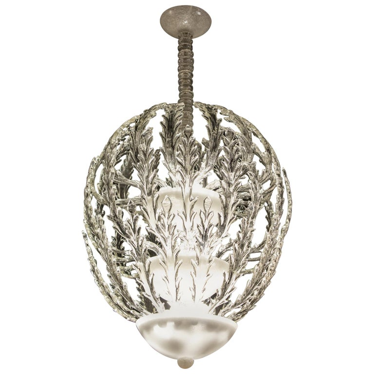 Iconic Art Deco Murano Glass Chandelier by Ercole Barovier, 1930s For Sale
