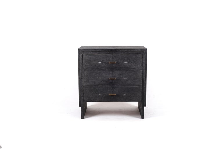 Art Deco Iconic Bedside Table with Beveled Drawers in Black Shagreen by R&Y Augousti For Sale