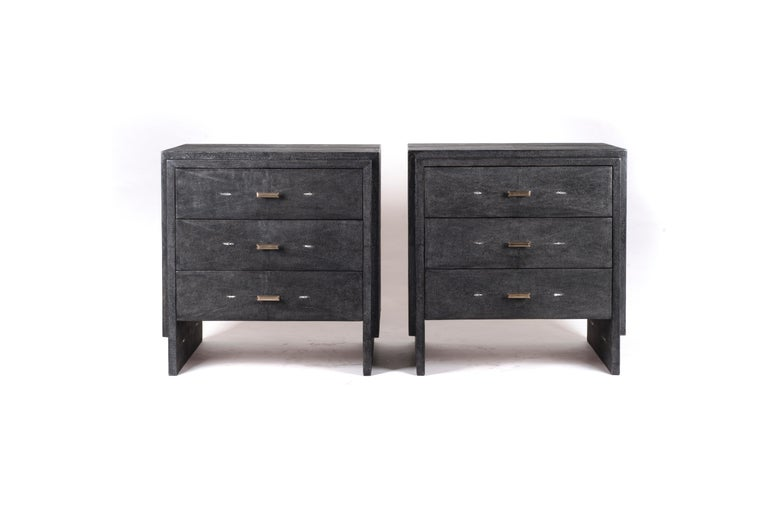 French Iconic Bedside Table with Beveled Drawers in Black Shagreen by R&Y Augousti For Sale