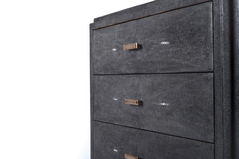 Hand-Crafted Iconic Bedside Table with Beveled Drawers in Black Shagreen by R&Y Augousti For Sale