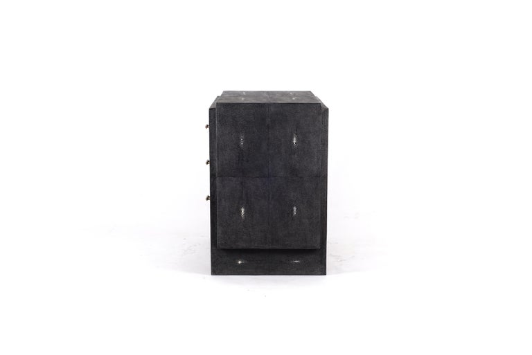 Iconic Bedside Table with Beveled Drawers in Black Shagreen by R&Y Augousti In New Condition For Sale In New York, NY