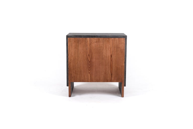 Contemporary Iconic Bedside Table with Beveled Drawers in Black Shagreen by R&Y Augousti For Sale