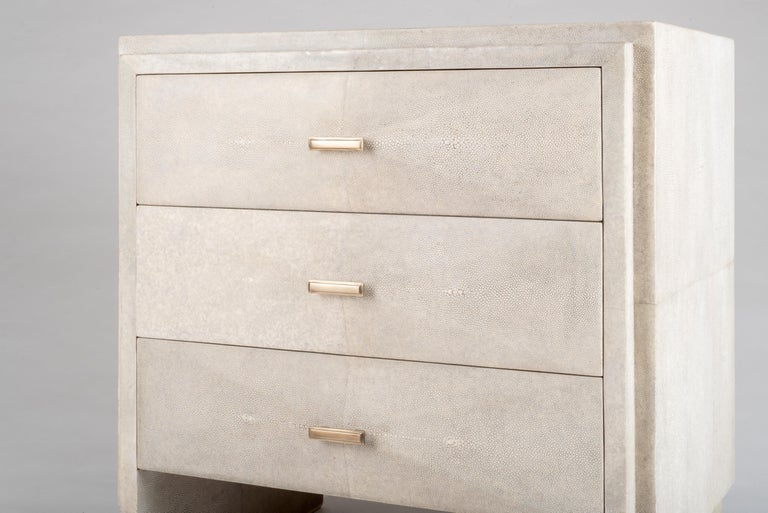 Iconic Bedside Table with Beveled Drawers in Black Shagreen by R&Y Augousti For Sale 2