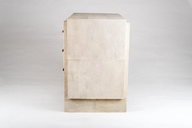 Art Deco Iconic Bedside Table with beveled drawers in Cream Shagreen by R&Y Augousti For Sale