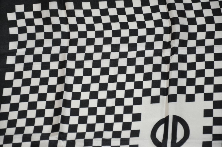 Iconic Bill Blass Black & White Checkered Signature Logo Silk Scarf In Good Condition For Sale In New York, NY