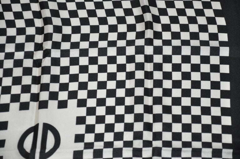 Women's or Men's Iconic Bill Blass Black & White Checkered Signature Logo Silk Scarf For Sale